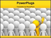 PowerPoint Template - Concept of uniqueness. Orange character standing out from the crowd
