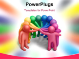 PowerPoint Template - Multicolored plasticine human figures concluding a treaty
