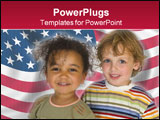 PowerPoint Template - A beautiful mixed race girl and a blond boy stand together