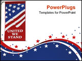 PowerPoint Template - United We Stand American Flag Banner on Isolated background