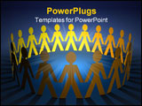 PowerPoint Template - Paper chain on blue. Orange and yellow men.