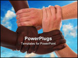 PowerPoint Template - Black and white or Caucasian hands clasped together