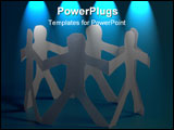 PowerPoint Template - concept for friendship friends team teamwork love and help with paper man