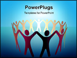 PowerPoint Template - A group of Symbol People hold up arms to form a ring or team under a bright spot of copy space