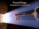 PowerPoint Template - Conceptual 3D art of a key moving towards the key hole.