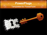 PowerPoint Template - Vector key on black background with puzzle