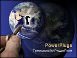 PowerPoint Template - hand, key, and globe