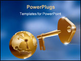 PowerPoint Template - a 3d golden globe with a key hole over a blue background and a key flying