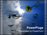 PowerPoint Template -  conceptual image of a key unlocking a mans mind good for images representing imagination and inspi