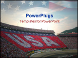 PowerPoint Template - crowd at car race making usa sign in the stands