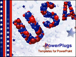 PowerPoint Template - USA spelled out in vector red and blue balloons