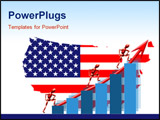 PowerPoint Template - Vertical column graph reflection and yellow arrow over flag map of United States