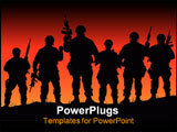 PowerPoint Template - Abstract vector silhouette illustration of some soldiers on patrol