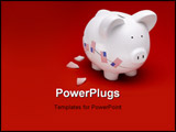 PowerPoint Template - Broken white ceramic piggy bank with US flags on a red surface