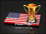 PowerPoint Template - 3d illustration of a gold trophy sitting on top of a glossy US flag on a reflective steel surface