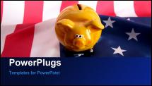 PowerPoint Template - flag USA with piggy bank