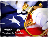 PowerPoint Template - White gloves sabre and flag - symbolic of a United States Marine.