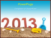 PowerPoint Template - Vacation 2013 at the beach isolated over white background