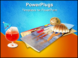 PowerPoint Template - tropical drink, vacation brochures, seashell