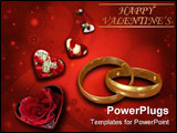 PowerPoint Template - Red valentines illustraited background with hearts and wave