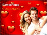PowerPoint Template - Valentines background with hearts and red swirls