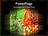 PowerPoint Template - Food cube with many vegetables and fruits