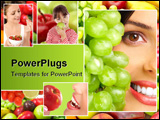 PowerPoint Template - Young smiling woman with fruits and vegetables