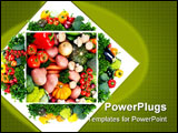 PowerPoint Template - Fresh fruits and vegetables. Close up. Vegetarian