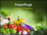 PowerPoint Template - Close up view of nice fresh vegetables on green summer back