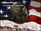 PowerPoint Template - us army helmet and dog tag on us flag background