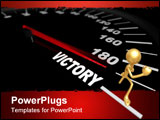 PowerPoint Template - A speedometer showing the needle pushing toward the word Victory
