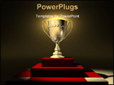 PowerPoint Template - A golden cup on a platform - 3d render