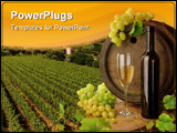 PowerPoint Template - White wine still life with old wine barrel on background of sunset vineyard