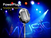 PowerPoint Template - vintage microphone on stage with colorful reflectors on the background