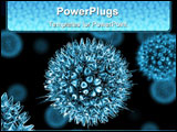 PowerPoint Template - Close up 3d render of a group of viruses.