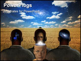 PowerPoint Template - Four figures three facing open field with star filled sky one facing viewer