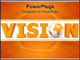 PowerPoint Template - orange word Vision with 3D globe replacing letter O