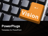 PowerPoint Template - vision button showing concept of idea creativity and success