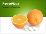 PowerPoint Template - Large pills with orange fruits tube on bright background