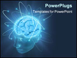 PowerPoint Template - Electrons revolve around the brain. Concept of idea the power of mind.