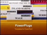 PowerPoint Template - Folders with documents on insurance Wage in the insurance company.