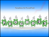 PowerPoint Template - Many team members walk on gears to turn them toward Progress with letters inside each gear to symbolize advancing and improving, moving forward toward the future
