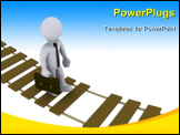 PowerPoint Template - 3d businessman walking on a damaged suspension bridge