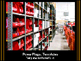 PowerPoint Template - Warehouse isles with red bins.