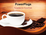 PowerPoint Template - warm cup of coffee on brown background