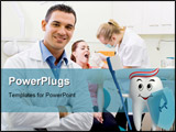 PowerPoint Template - Tooth standing with a toothbrush and a shield in his hand