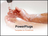 PowerPoint Template - Closeup of a child soapy hands being washed under running water in a sink