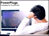 PowerPoint Template - Man watching television.