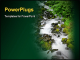 PowerPoint Template - A beautiful waterfall cascades down a rocky hill
