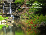 PowerPoint Template - Cascading waterfall and pond in japanese garden